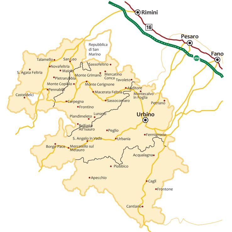 Marche Cartina Stradale.Il Territorio Urbino E Il Montefeltro